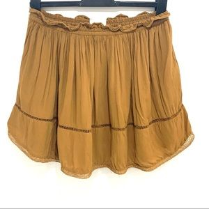 Wilfred | Brown Lace Trim Circle Skirt
